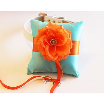 Aqua blue Orange Ring Pillow Collar, Ring Bearer Pillow, Pet wedding accessory