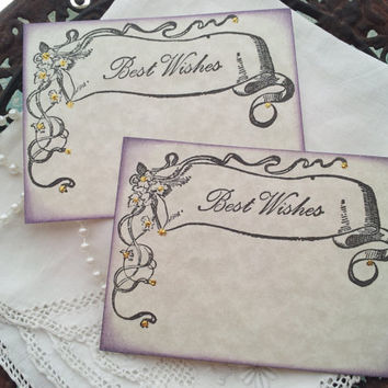 Wedding Wish Cards Vintage Inspired Banner Set of 25