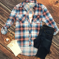 What I like about you Plaid Flannel Top: Blue/Rose