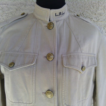 Women's Vintage Ralph Lauren size 6 light brown jacket. 100% cotton 90's Jacket --Button front brown women's Ralph Lauren jacket/ light coat