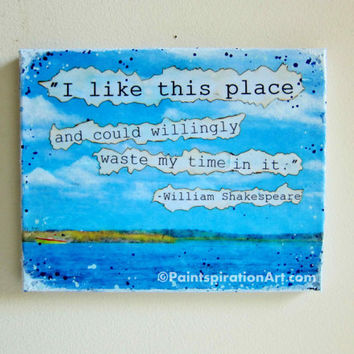 Mixed Media Art Shakespeare Quotes - Fishing Decor Canvas Wall Art Inspiring Quotes - Beach Decor 8x10 Canvas Art - Lake House Decor