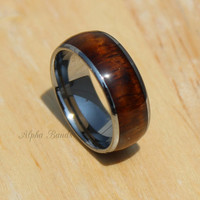Tungsten Carbide KOA Wood Ring, 8MM, Wedding Band, Fashion Ring, Sizes 8 -13