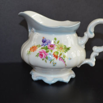 Selb Germany Porcelain Creamer, Hutschenreuther Selb Creamer, Porcelain Floral Creamer