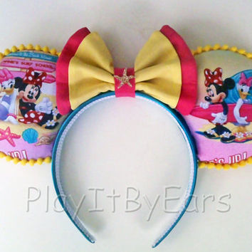 "Nautical Handmade ""Minnie Daisy Surfs Up"" Custom Mouse Ears inspired by Disney"