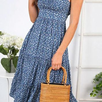 Looking For Romance Floral Pattern Sleeveless Spaghetti Strap Scoop Neck Ruffle Flare A Line Casual Midi Dress - 2 Colors Available