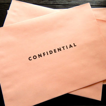 Vintage Pink Envelopes. Confidential. Large Envelopes. Office Ephemera. Mailing Envelope. Stationery Envelope. Pink Paper. Journal Supply.