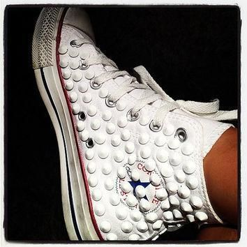 studded converse converse white high top with white cone rivet studs by customduo on