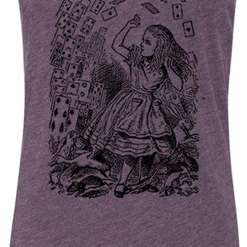 Alice in Wonderland - Pack of Cards (Black) Tri-Blend Racerback Tank-Top