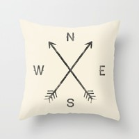 Compass (Natural) Throw Pillow by Zach Terrell | Society6