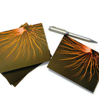 Abstract Modern Art Photography Explosion Neon Sun Burst  Fireworks Invitations Greeting Thank You Blank Card - Set of 6 w/ Envelopes