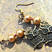 Pearl Owl Earrings Direct checkout