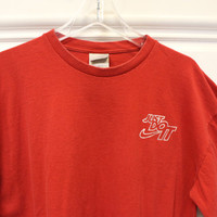 Vintage Nike // Long Sleeve T-Shirt // Crew Neck // Just Do It // Red // X-Large