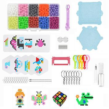 DIY Make Kids Toys 5mm Water Hama Beads 10 Color Sticky Perler Beads Pegboard Set Fuse Beads Jigsaw Water BeadsBond Toy Puzzle
