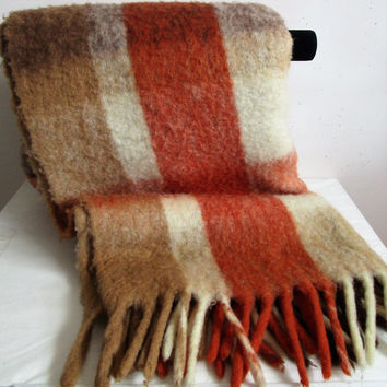 Vintage 1980s Wool Blanket Eaton Russet Brown  Acrylic Plaid Country Cottage 80s Throw Made in Italy