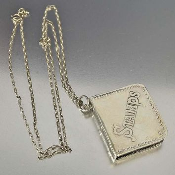Silver Stamps Chatelaine Pendant Stash Necklace