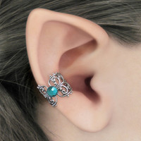 Intrigue - Choose Your Color Crystal - Silver Filigree Ear Cuff