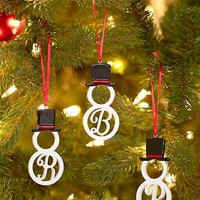 Monogram Letter Snowman Hanging Christmas Tree Ornament Holiday Home Decor