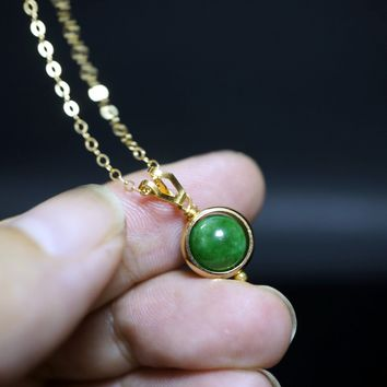 Single Bead Necklace - May Birthstone - Gold Filled Jade Necklace - Tiny Green Emerald Jade Jewelry - Tiny Jade Choker
