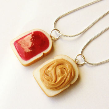 strawberry jam peanut butter and jelly best friend necklaces bff