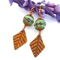 Copper Leaves Green Lampwork Earrings Handmade Autumn Jewelry Unique