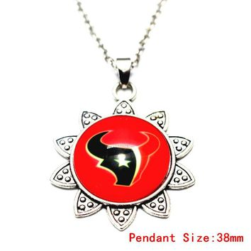 USA Football Houston Texans Sunflower Pendant Necklace With 50cm Chains Fashion Necklace Jewelry For Men Women Christmas Gift
