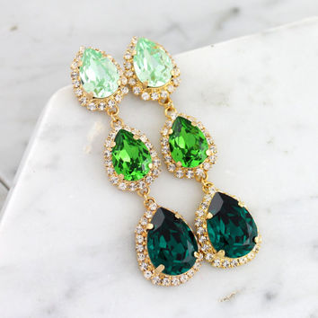 Emerald Chandelier, Green Chandelier Earrings, Green Emerlad Statement Earrings, Greenery Bridal Jewelry, LONG Peridot Dangle Earrings.