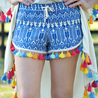Judith March Blue & Ivory Jacquard Track Short With Multi-Colored Tassel Trim Detail