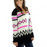 Black And Pink Fringe Cardigan