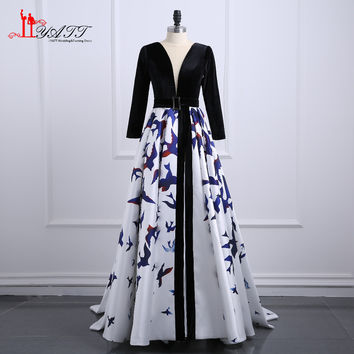 2017 New Fashion Print Evening Dresses Long Sleeve Velvet Pattern Prom Dresses Formal Evening Gowns China Vestido Longo MN143