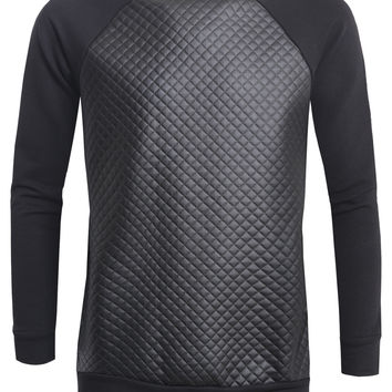 Mens Quilted Faux Leather Raglan Crew Neck Sweater