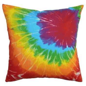 18x18 Groovy Retro Colorful Tie Dye Print Pillow Cover