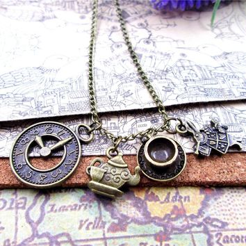 fashion   Antique bronze  Alice in Wonderland  necklace  Teapot with teacup Clock rabbit  charm pendant necklace