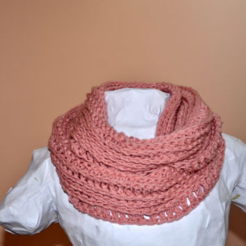 Dusty Blush Light Pink Ribbed Crochet Infinity Circle Scarf