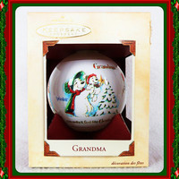 "NIB Hallmark Keepsake Ornament - ""Grandma"" - Grandma & Four Seasons Glass Ball Holiday Chrismtas Decorate Polar Bears Love Kid Children Tree"