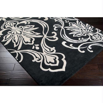 Throw  Rug - 5' X 8' - Colors Include Black-olive And Winter-white