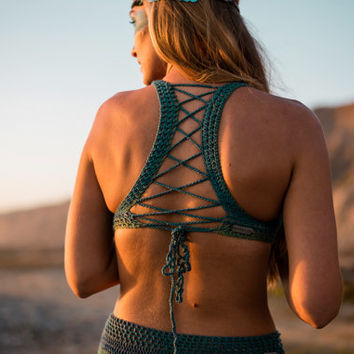 Crochet Top - Geo Flow Bralette. Festival Style. Crochet Bikini. Corset. Gypsy. Yoga Top. Hooping. Racerback. Mermaid. Lace Bra. Handmade