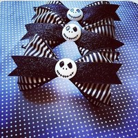 Jack Skellington antique striped hair bow from Bowlicious Divas Bowtique
