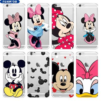 Cartoon Anime Mickey Minnie Mouse Soft Silicone Clear TPU Case Cover For iphone 6 6s 7 8 Plus 5 5s SE X Xs Max Xr Capinha Coque