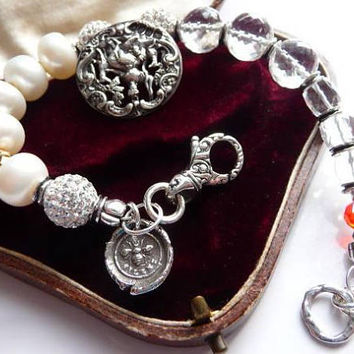 Antique heirloom silver button bracelet | wedding bridal prom gift | Diana of the hunt | pearl Bali sterling charm | classic bracelet | 1881