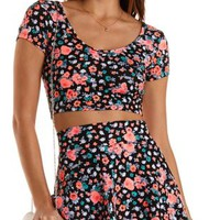 Zip-Back Floral Print Crop Top by Charlotte Russe