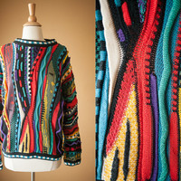 Vintage Tundra Sweater   90s Sweater Vintage Jumper 80s Sweater Pullover Oversized Top Cosby Rainbow Slouchy Hip Hop Style Canada Crew Neck