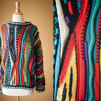 Vintage Tundra Sweater | 90s Sweater Vintage Jumper 80s Sweater Pullover Oversized Top Cosby Rainbow Slouchy Hip Hop Style Canada Crew Neck