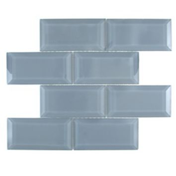 Shop GBI Tile & Stone Inc. Blue Glass Mosaic Subway Wall Tile (Common: 12-in x 15-in; Actual: 11.61-in x 14.69-in) at Lowes.com