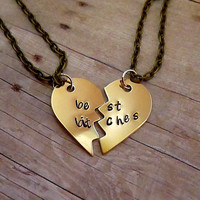 Best Bitches Best Friends Hand Stamped Broken Heart Necklace Set Brass