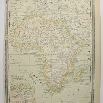 1888 Antique Africa Map, Egypt Nubia Map, Sinai Peninsula Nile River Map, Red Sea, Africa Gift for Her, Vintage Map of Africa, African Decor