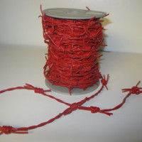 Genuine leather barbed wire....5 yards of red color .....great crafting material