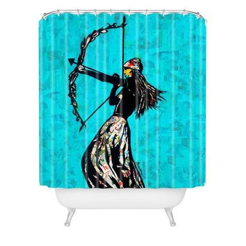 The Archer fashion collage shower curtain