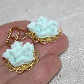 Mint Blue Flower Earrings, Mint and Gold Filigree Earrings, Sakura Flower Earrings, Mint Blue Japanese Flower Jewelry