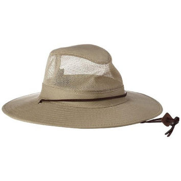 Dorfman Pacific Mens Brushed Twill Mesh Sidewall Safari Hat