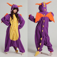 Hot Spyro Dragon Unisex Adult Onesuit Kigurumi Pajamas Anime Costume Dress Robe